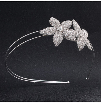 Beautiful Floral Rhinestone Bridal Headband Tiara