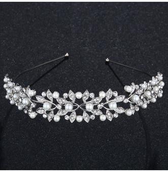 Silver Plated Vine Headband Tiara with Rhinestones & Pearls