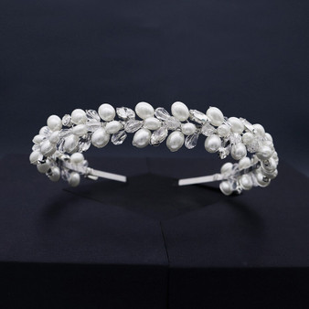 Chic Bridal Tiara Headband with Pearls, Crystals & Rhinestones