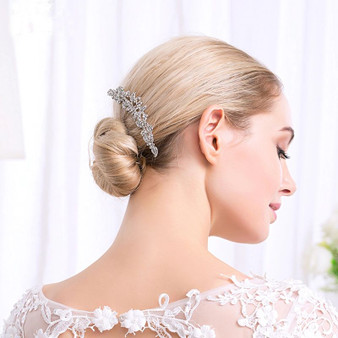 Vintage Look Rhinestone Wedding Hair Comb in Silver, Rose Gold
