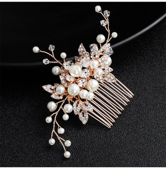 Rose Gold Bridal Hair Comb with Floral Details