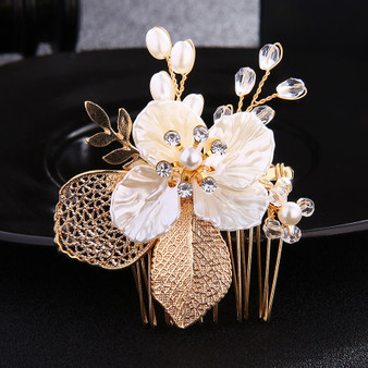Gold Plated Pearl and Crystal Bridal Hair Comb