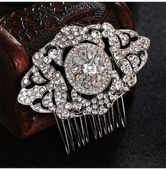 Elegant Silver Plated Rhinestone Wedding Hair Comb