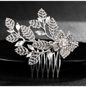 Dainty Rhinestone Floral Wedding Hair Comb in Silver, Rose Gold