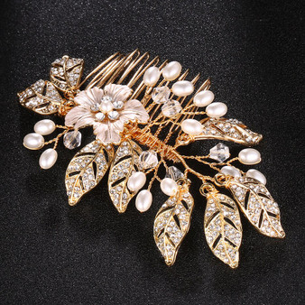 Couture Flower and Leaf Wedding Comb with Freshwater Pearls