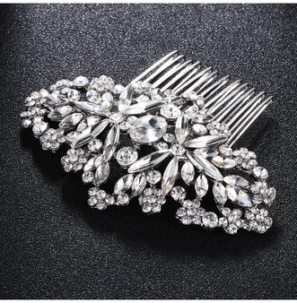 Silver Vintage Look Rhinestone Wedding Hair Comb