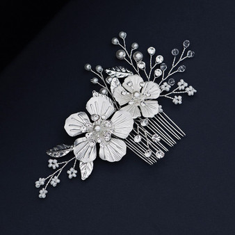 Crystal and Pearl Silver Leaf Flower Bridal Hair Comb