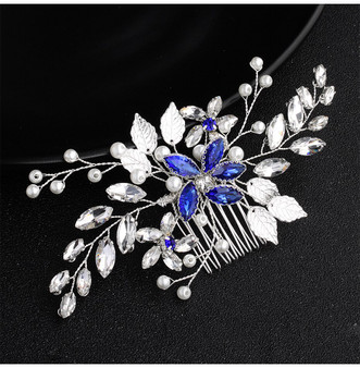 Blue Rhinestone Flower Bridal Hair Comb in Silver