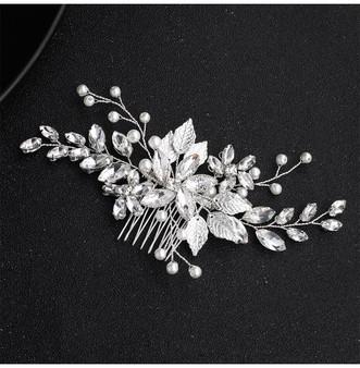 Clear Rhinestone Flower Bridal Comb in Silver
