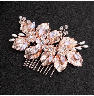Rose Gold Floral Pearl & Crystal Bridal Hair Comb