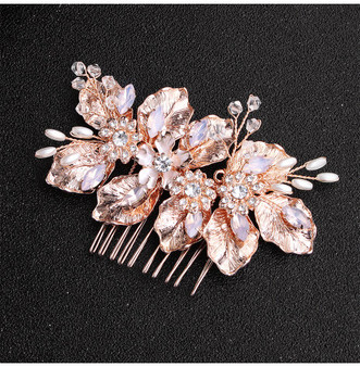 Rose Gold Floral Pearl & Crystal Bridal Hair Comb