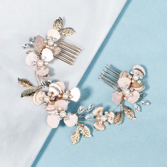 Flower Pearl and Rhinestone Bridal Hair Comb
