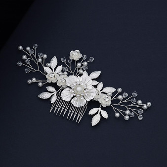 Silver Floral Rhinestone and White Pearl Bridal Hair Comb
