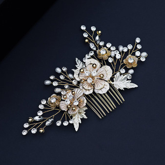 Gold Rhinestone Wedding Hair Comb with Chic Flowers