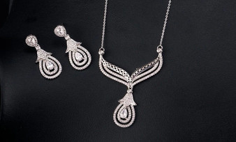 Dainty CZ Crystals Wedding Necklace & Earrings Set