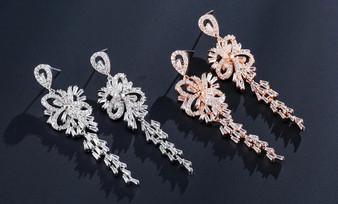 Cubic Zirconia Chandelier Wedding Earrings in Silver, Rose Gold