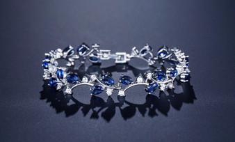Exquisite CZ Bridal Wedding Bracelet Blue Red Green