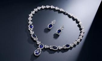 Emilia Blue CZ Crystal Drop Bridal Jewelry Set