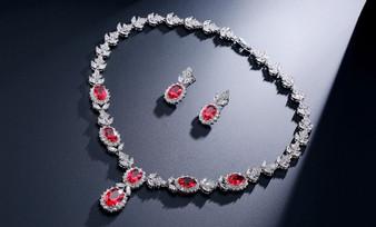 Red CZ Crystal Drop Bridal Jewelry Set