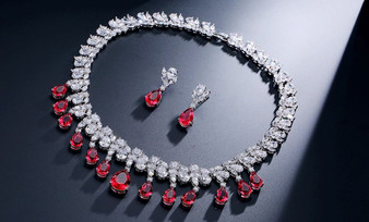 Red CZ Crystal Wedding Jewelry Set