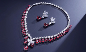 Red CZ Wedding Jewelry Set