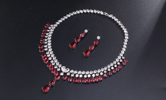 Red Cubic Zirconia Bridal Earrings Necklace Set