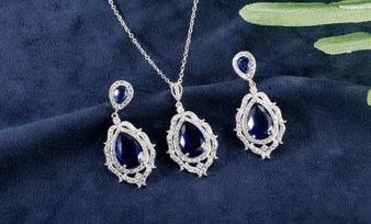 Blue Cubic Zirconia Elegant Bridal Jewelry Set