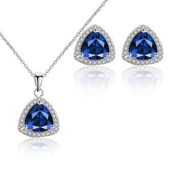 CZ Blue Crystal Pendant Bridesmaid Jewelry Set