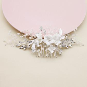 Floral Design Bridal Hair Comb with Porcelain Flowers