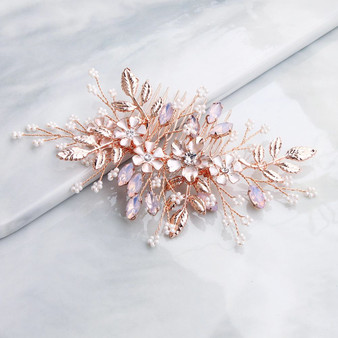 Rose Gold Flower Wedding Hair Comb