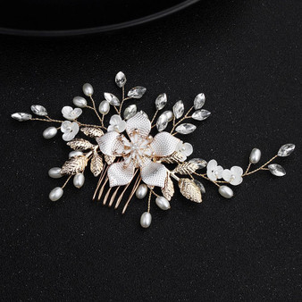 Gold Plated Flower Bridal Hair Comb