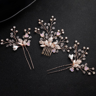 Cherry Blossom Bridal Comb & Pins 3 Piece Set