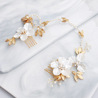 Back Bridal Hair Comb with Porcelain Flowers
