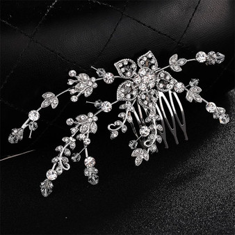 Rhinestone Floral Wedding Hair Comb
