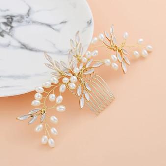 Pearl Vine Leaves Bridal Hair Comb