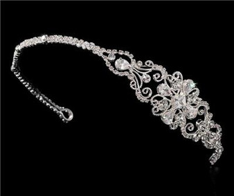 Couture Side Accented Headpiece Swarovski Rhinestones & Crystals WT8253