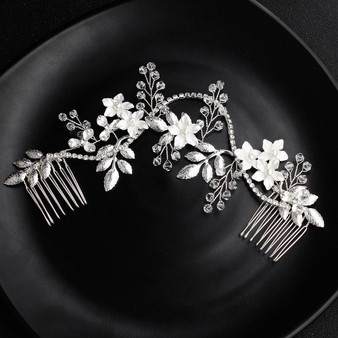 Floral Vine Pearl and Rhinestone Bridal Hair Comb