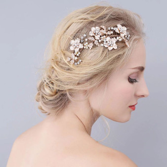 Bridal Hair Comb with Freshwater Pearls, Flowers & Leaves