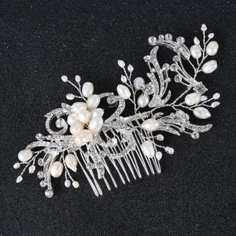 Bridal Floral Hair Comb with Freshwater Pearls Gold or Silver