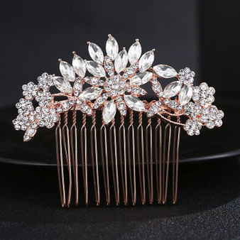 Crystal Flower Bridal Hair Comb in Rose Gold