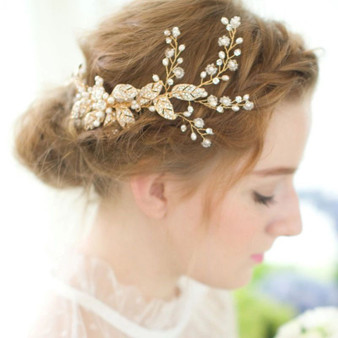 Floral Bridal Hair Comb with Flowers & Leaves