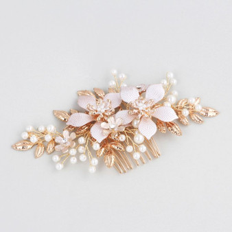 Gold Rhinestone Wedding Hair Comb with Flowers