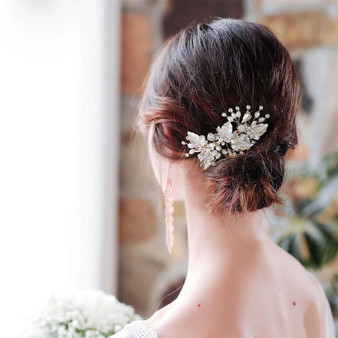 Vine Crystal Wedding Hair Comb Pin in Silver, Gold, Rose Gold