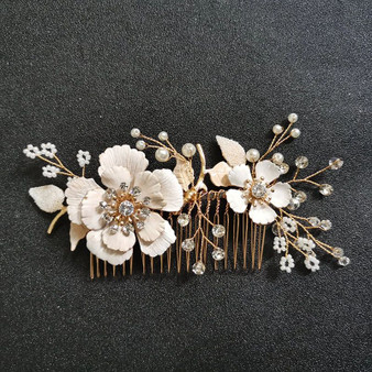 Delicate Floral Pearl and Rhinestone Gold Bridal Hair Comb