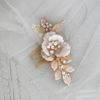 Gold Floral Rhinestone and Pearl Bridal Hair Comb