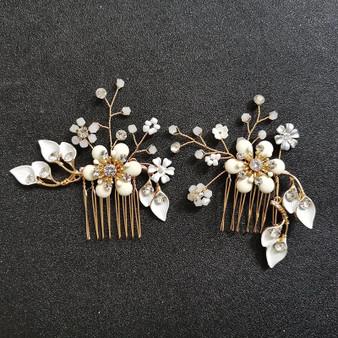 Gold Floral Bridal Hair Combs 2 Piece Set