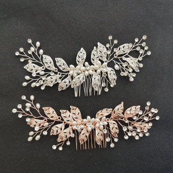 Pearl Flower Bridal Hair Comb Silver, Gold, Rose Gold