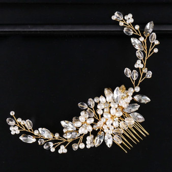 Floral Pearl and Crystal Bridal Hair Comb
