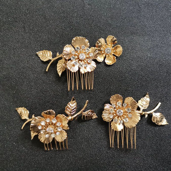 Flower Wedding Hair Combs 3 Piece Set