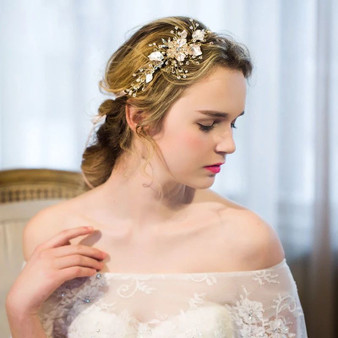 Chic Bridal Hair Vine with Freshwater Pearls Silver, Gold, Rose Gold